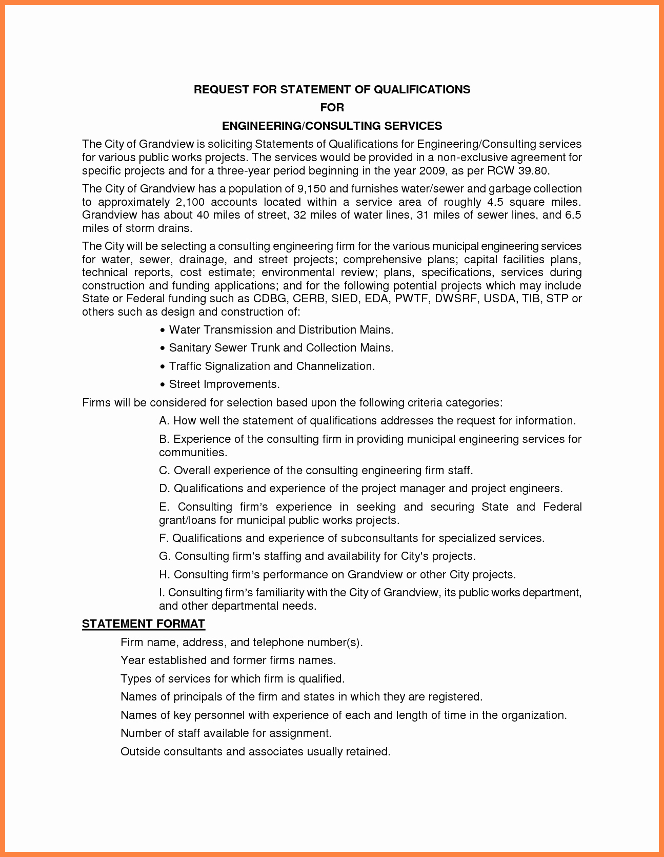 Statement Of Qualifications Example Letter Lovely 10 Sample Statement Of Qualifications