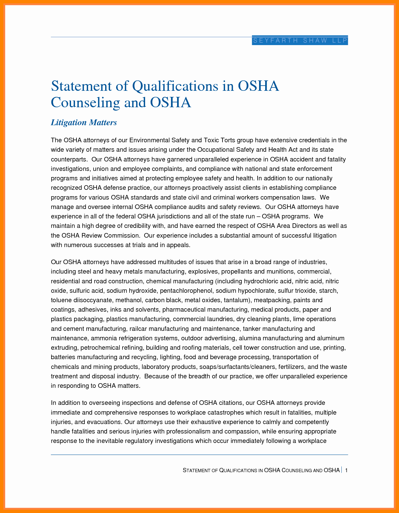 Statement Of Qualifications Example Letter Lovely 10 Statement Of Qualification