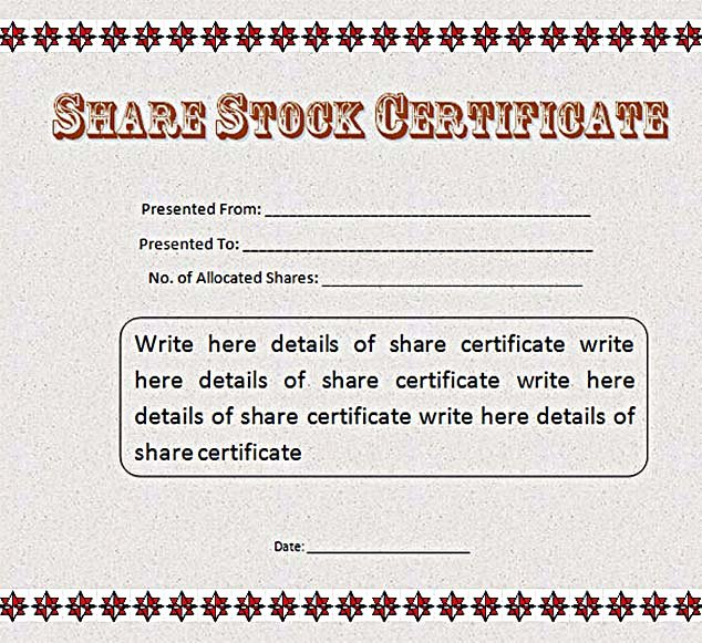 Stock Certificate Template Microsoft Word Awesome Stock Certificate Template Free In Word and Pdf