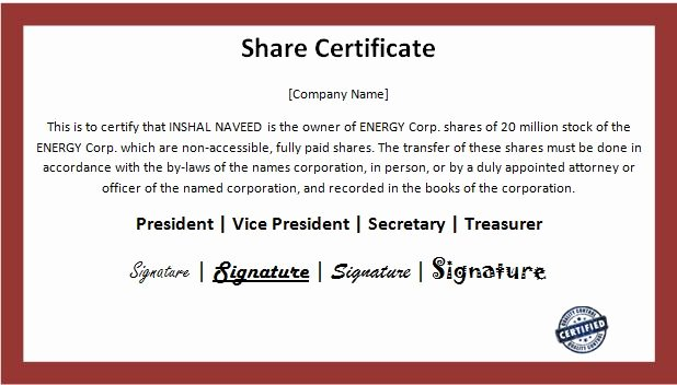 nice business share certificate template sample with maroon and white color bination