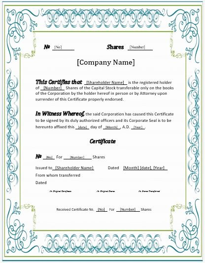 Stock Certificate Template Microsoft Word Elegant Stock Certificates 2018 Templates for Ms Word