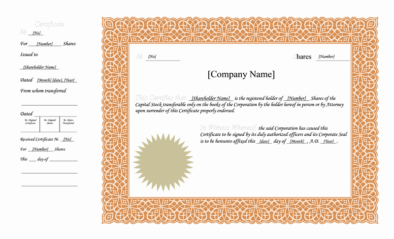 Stock Certificate Template Microsoft Word Luxury Blank Free Mon Stock Certificate Template Microsoft