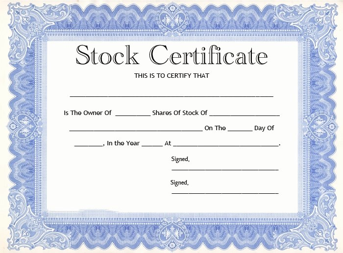 Stock Certificate Template Word Lovely 20 Stock Certificate Templates