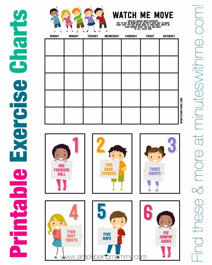 Stretching Charts Free Printable Awesome 5 Fitness Tips for Kids Fitness & Workouts