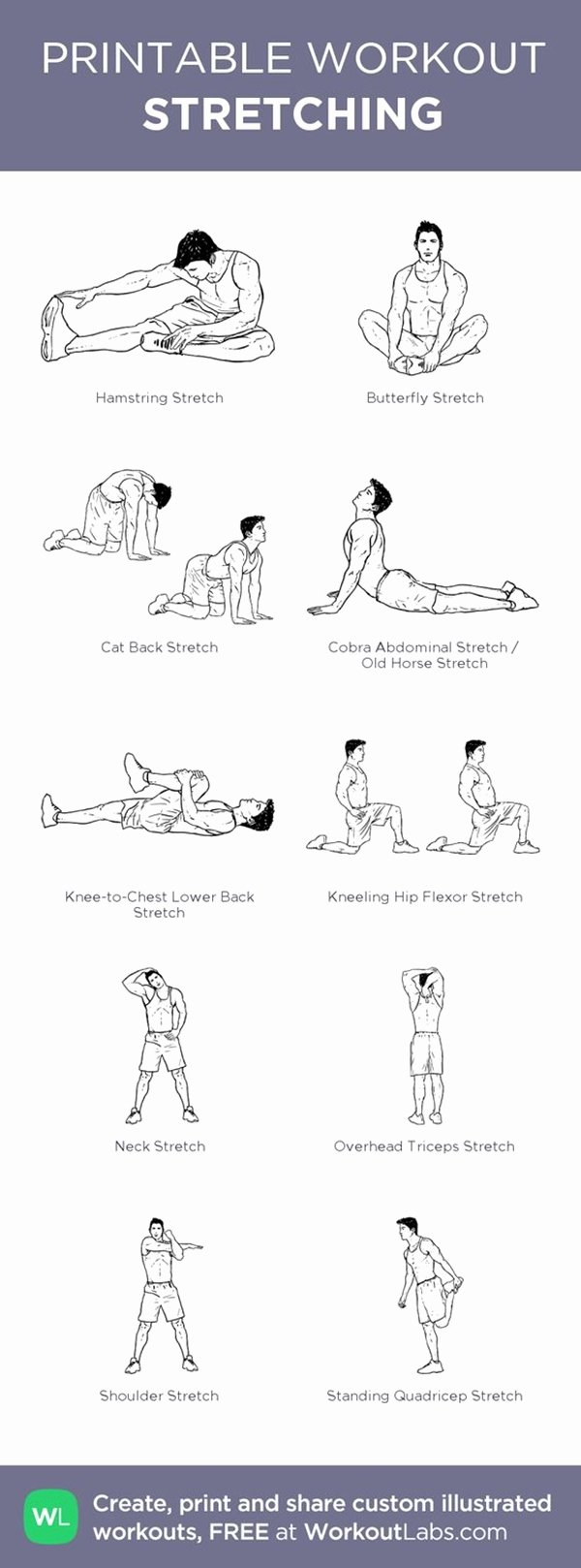 Stretching Charts Free Printable Fresh 40 Charts Of Post Workout Stretches to Prevent Injuries