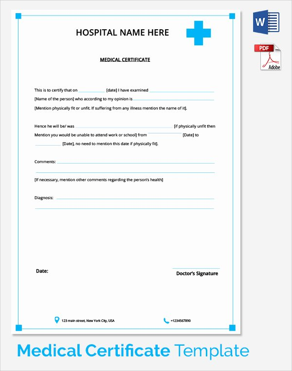 Student Certificate Template Google Docs Elegant Medical Certificate format for Sick Leave for Student