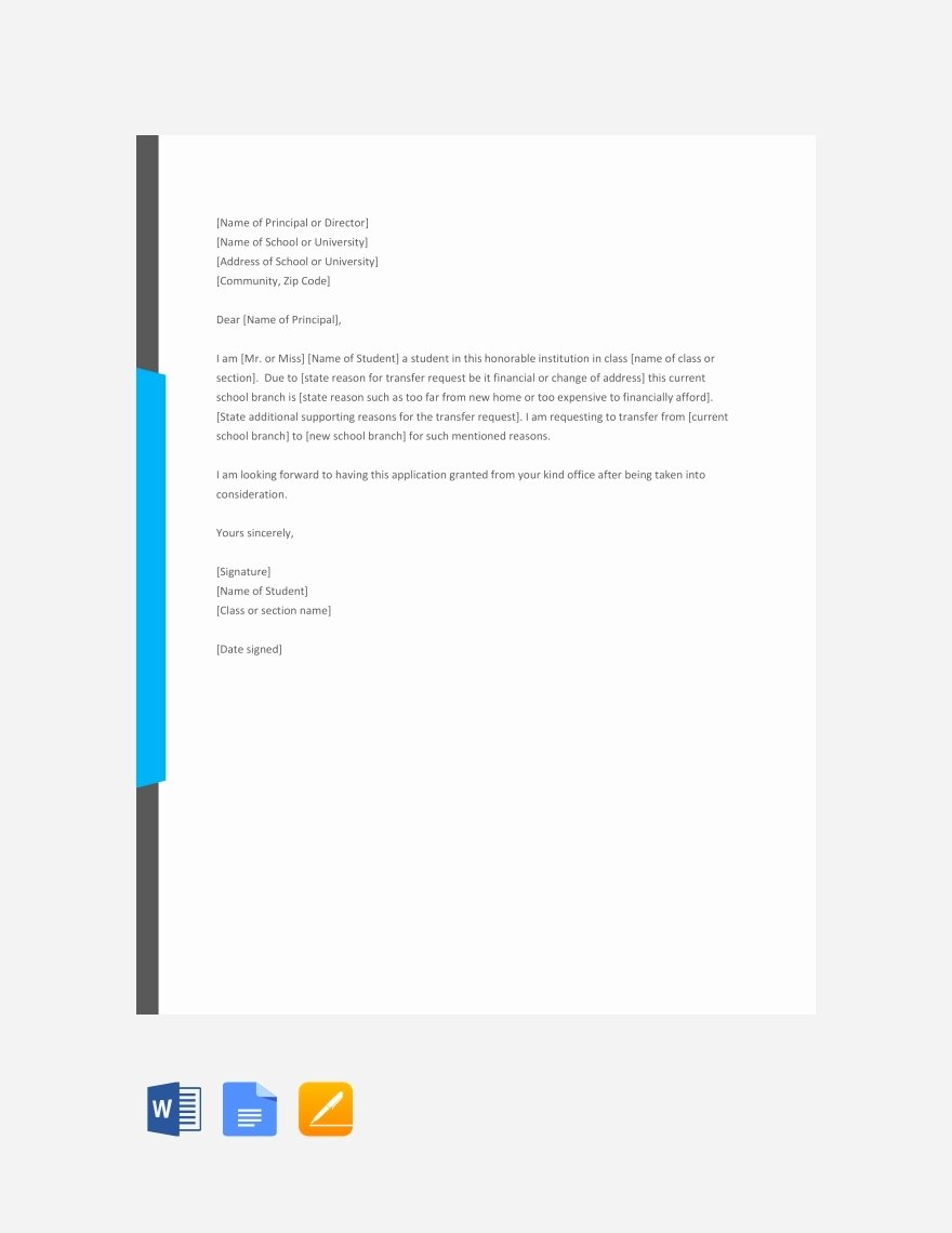 Student Certificate Template Google Docs New 44 Transfer Letter Templates Pdf Google Doc Excel