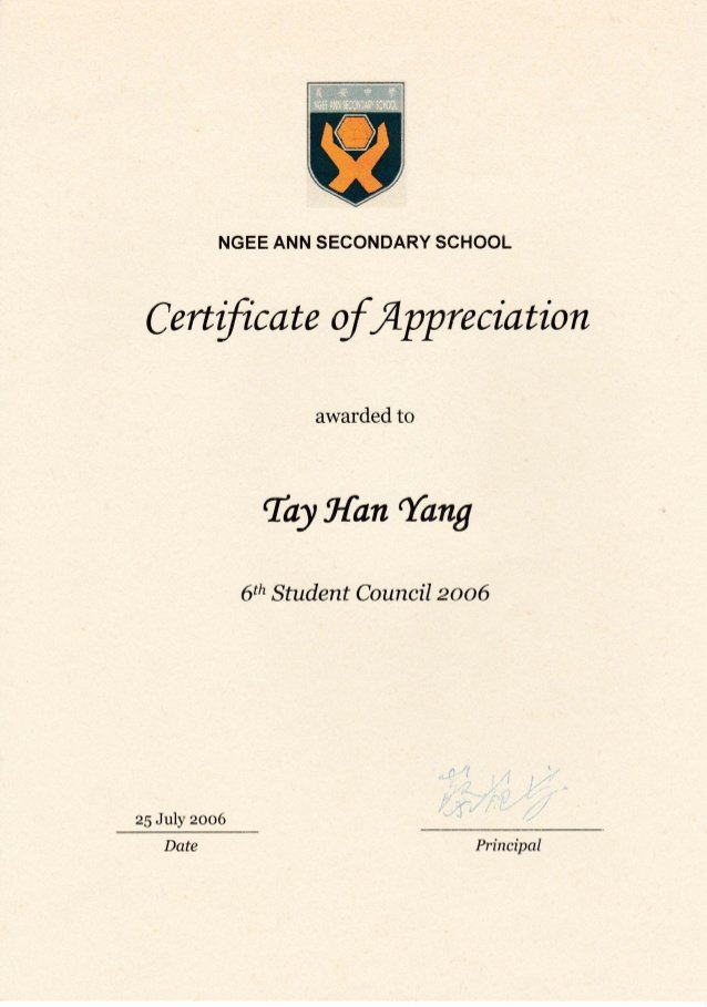 Student Council Awards Certificates Awesome Certificate Of Appreciation Nass 6th Student Council 2006