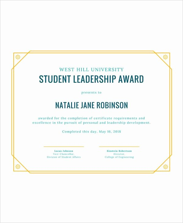 Student Council Awards Certificates Fresh Student Award Templates 9 Free Word Excel Pdf