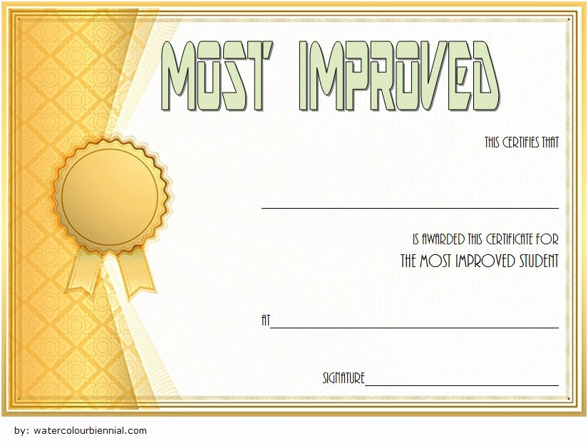 Student Council Awards Certificates New Most Improved Student Certificate 10 Template Designs Free