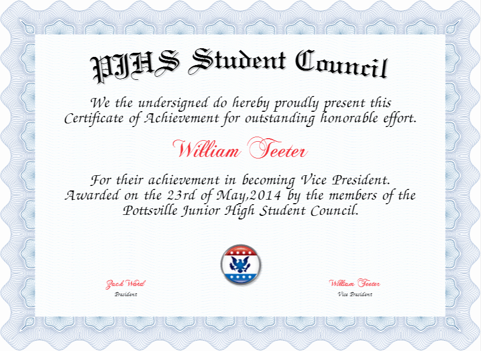 Student Council Awards Certificates New Pjhs Student Council Certificate