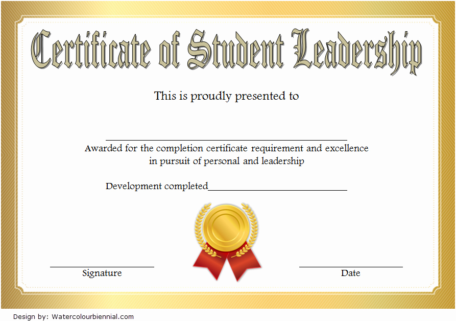Student Council Awards Certificates New Student Leadership Certificate Template [10 Designs Free]