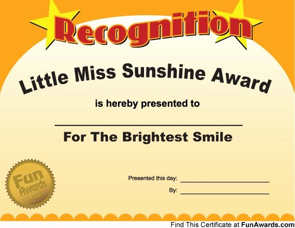 Student Council Certificates Printable Awesome Little Miss Sunshine …