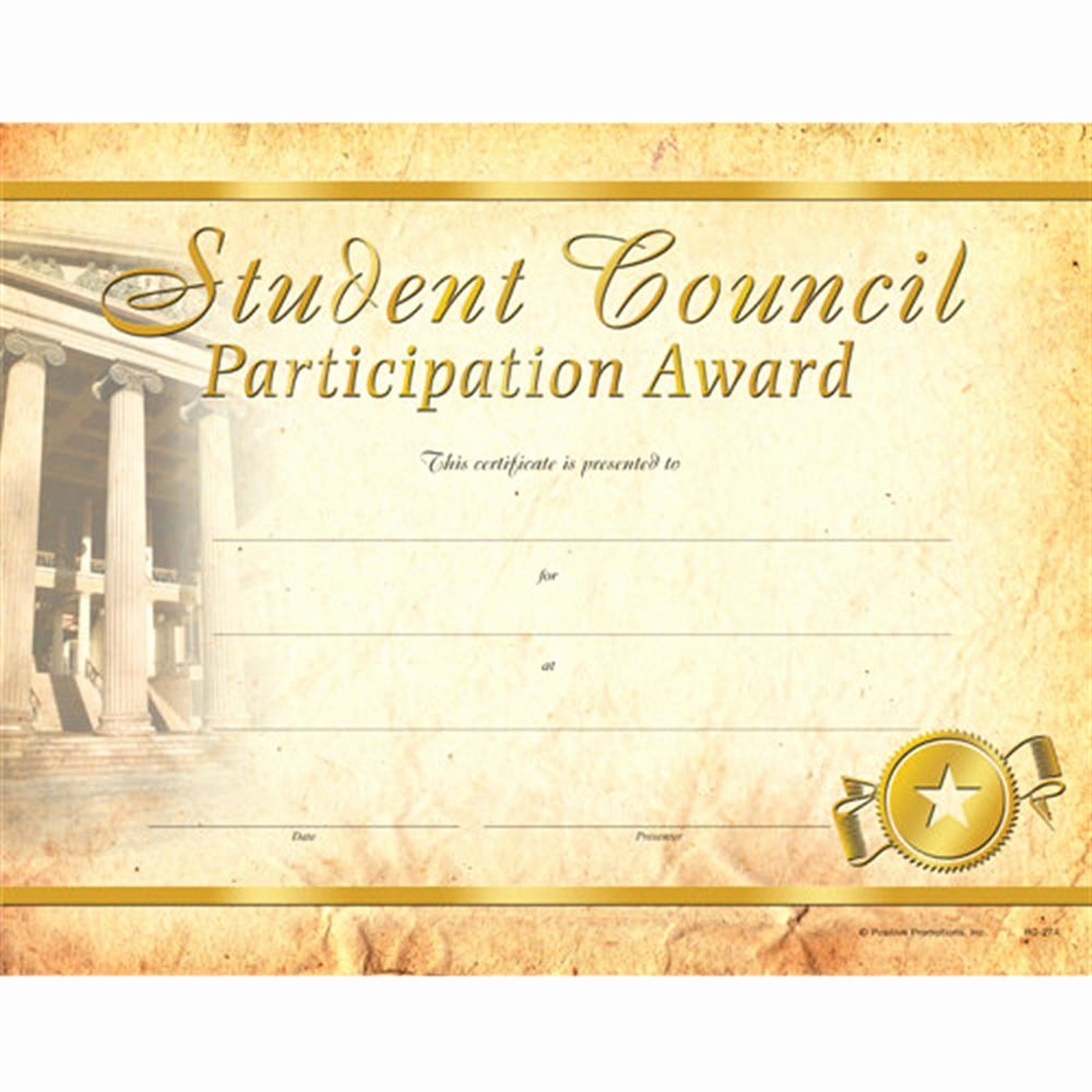 Student Council Certificates Template Inspirational Student Council Participation Gold Foil Stamped Certificates
