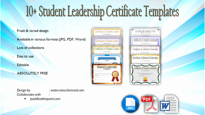 Student Council Certificates Template Lovely Student Leadership Certificate Template [10 Designs Free]
