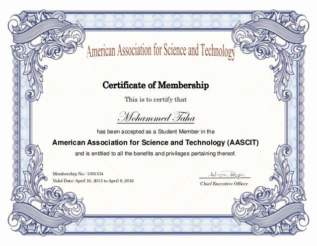 Student Council Certificates Template Luxury Aascit Membership Certificate