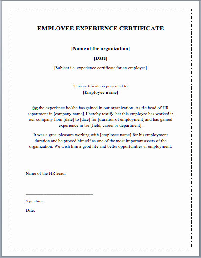 Student General Employment Certificate Lovely Experience Certificate formats