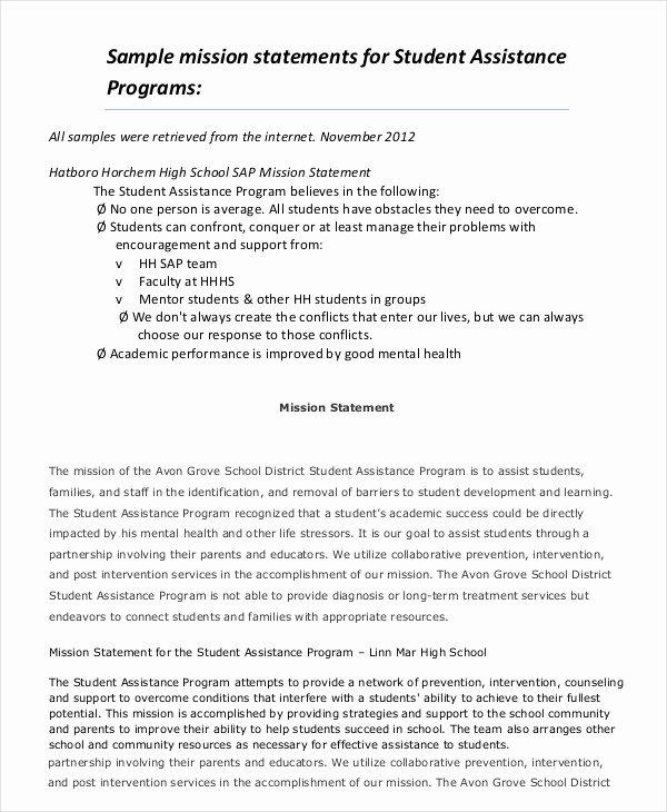 Student Mission Statement New Personal Mission Statement Worksheet