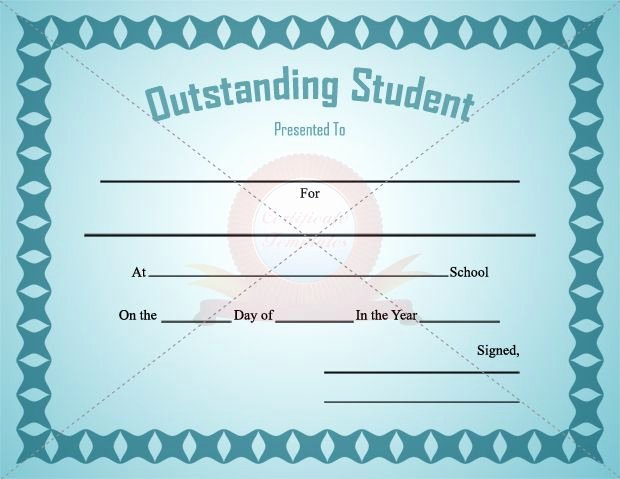 Student Of the Day Certificate Fresh Outstanding Student Certificate Template for Male