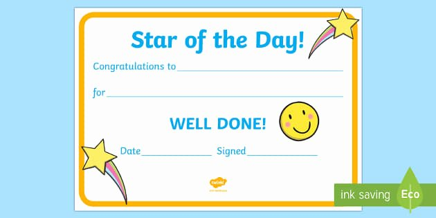 Student Of the Day Certificate Inspirational Free Star Of the Day Award Certificate Star Of the