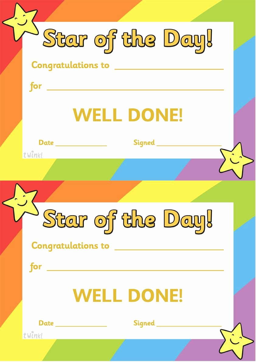 Student Of the Day Certificate Inspirational Twinkl Resources Star Of the Day A4 Poster Classroom