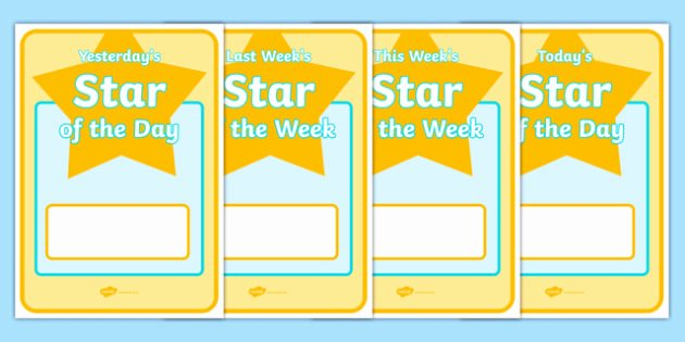 Student Of the Day Certificate Lovely Student Star Of the Day & Week Posters Star Of the Day