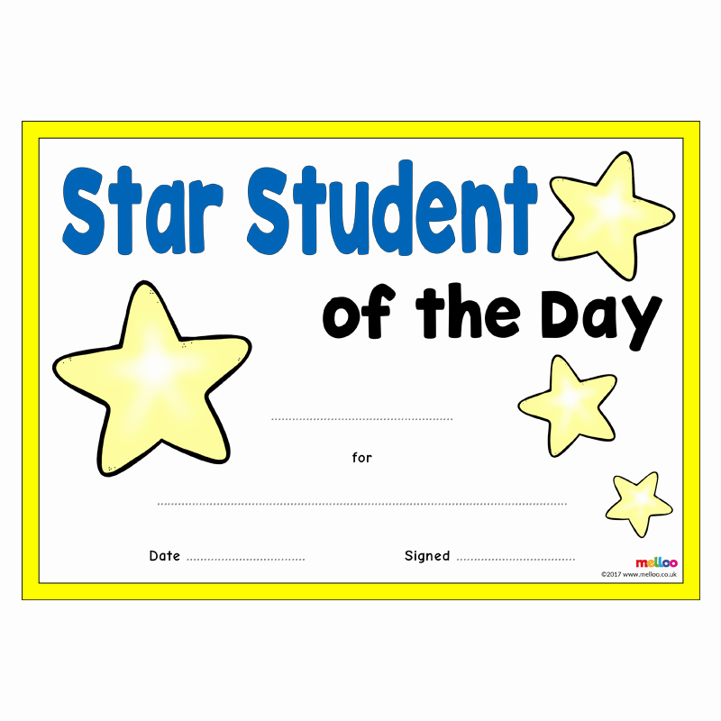 Student Of the Day Certificate Luxury Star Student Certificates