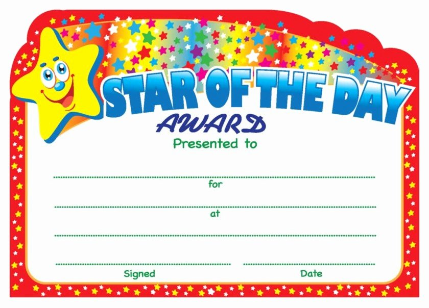 Student Of the Day Certificate New Star Of the Day Award Certificate