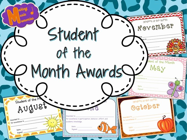 Student Of the Month Award Template Awesome Student Of the Month Awards August June
