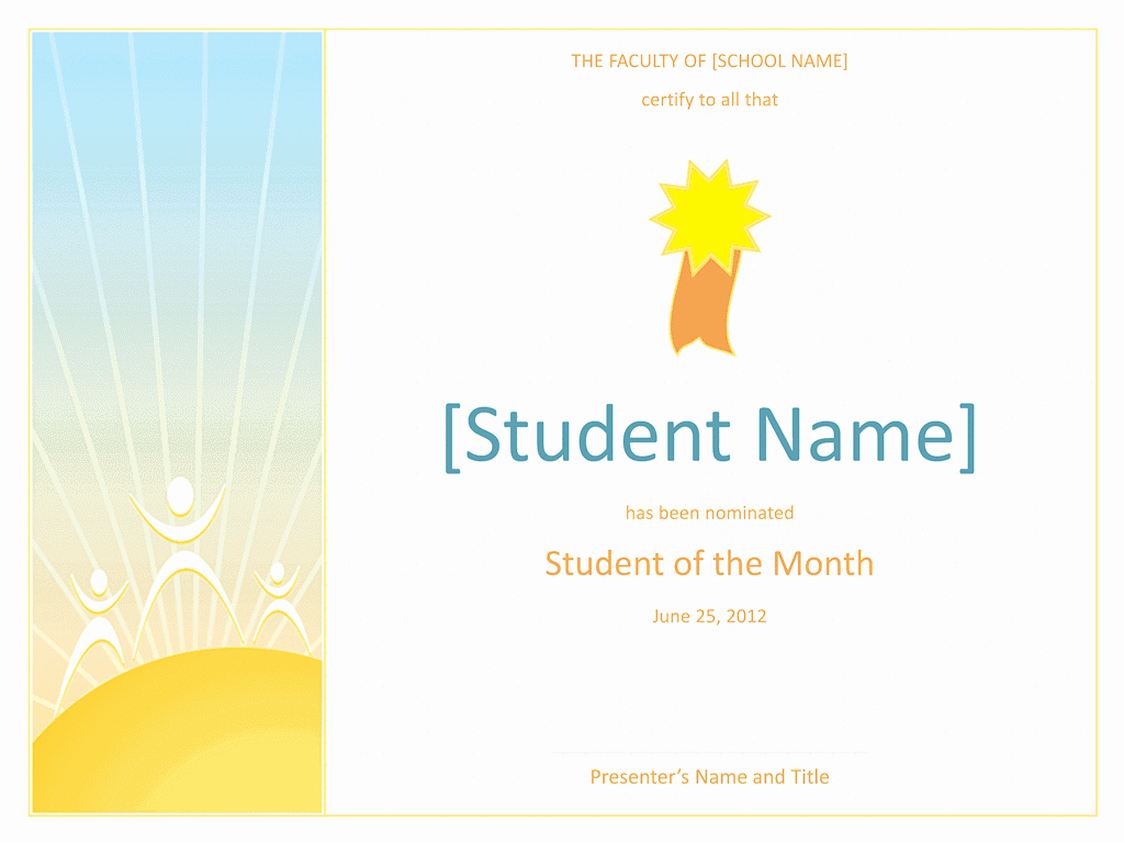 Student Of the Month Award Template Awesome Student the Month Award Elementary Free Certificate