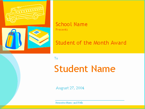 Student Of the Month Award Template Awesome Student the Month Award High School Free