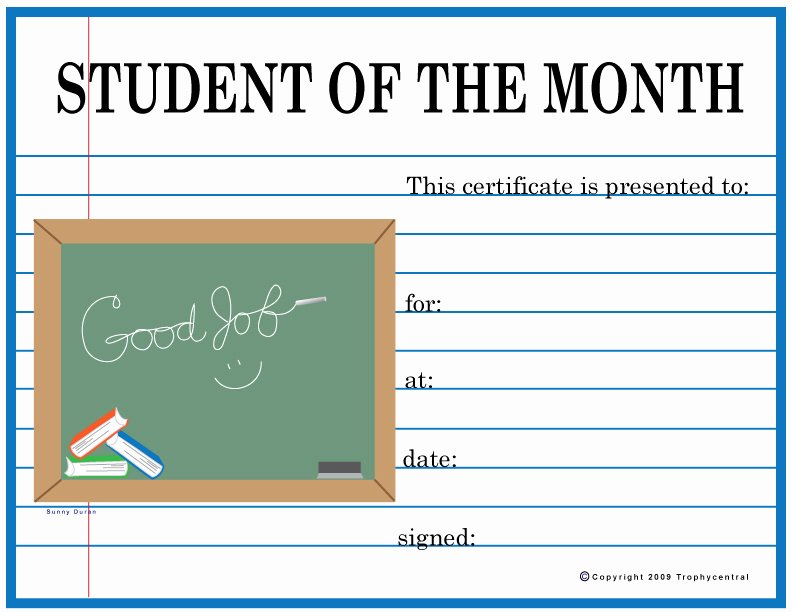 Student Of the Month Award Template Beautiful Free Student the Month Certificates Certificate Free