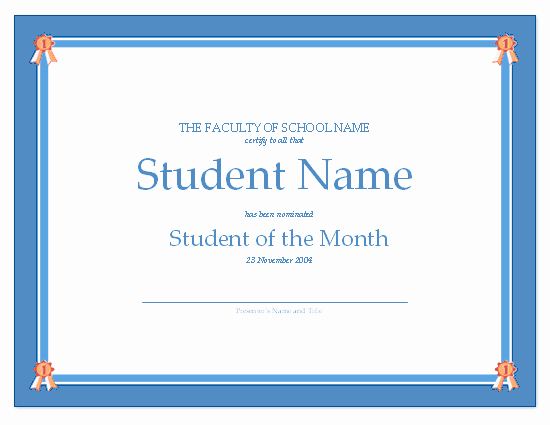 Student Of the Month Award Template Best Of Certificate for Student the Month Free Certificate