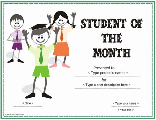 Student Of the Month Award Template Fresh Education Certificates Student Of the Month Award