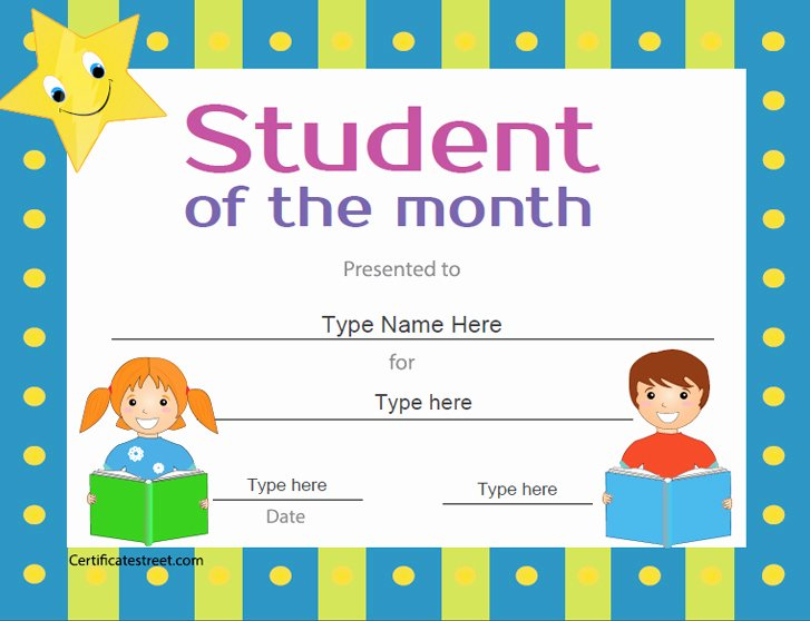 Student Of the Month Award Template Inspirational Certificate Street Free Award Certificate Templates No
