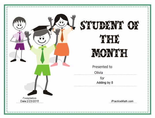 Student Of the Month Award Template Inspirational Ipracticemath Awards and Certificates