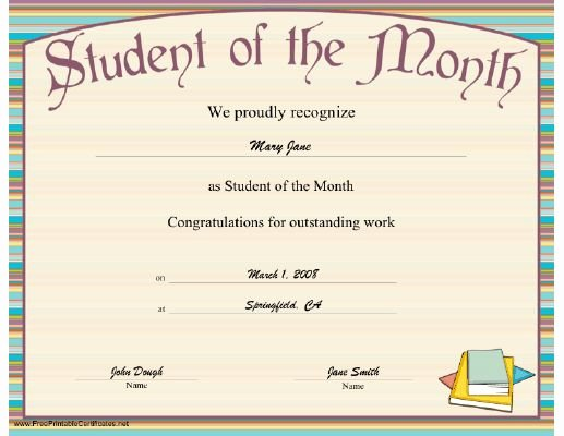 Student Of the Month Award Template Lovely A Striped Printable Certificate Honoring the Outstanding