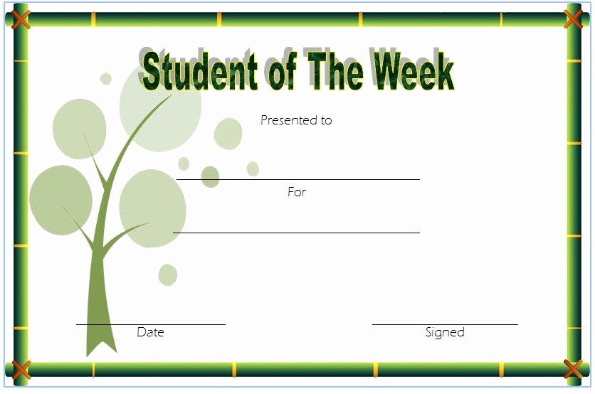 Student Of the Month Award Template Luxury 10 Student Of the Week Certificate Templates [best Ideas]