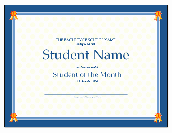 Student Of the Month Award Template New Certificate for Student the Month Free Certificate