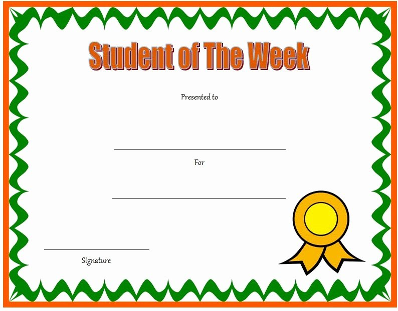 Student Of the Month Award Template Unique 10 Student Of the Week Certificate Templates [best Ideas]