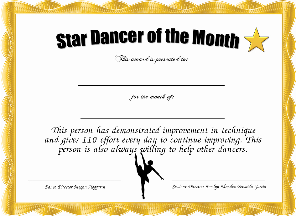 Student Of the Month Certificate Pdf Best Of Star Dancer Of the Month Certificate