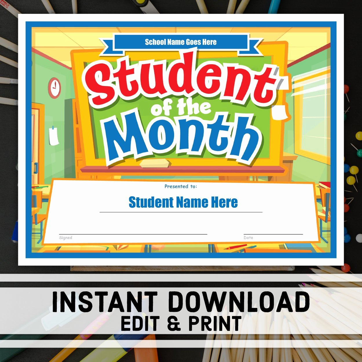 Student Of the Month Certificate Pdf Fresh Student Of the Month Certificate Instant Download