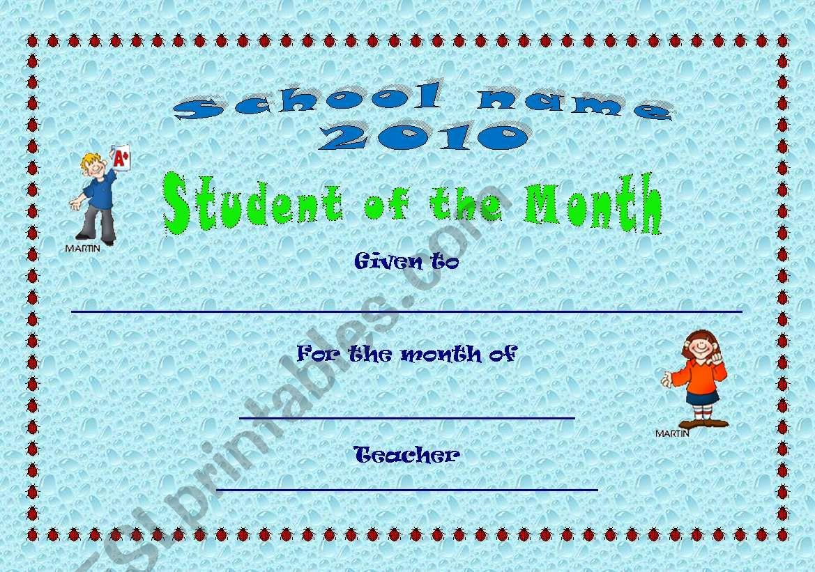 Student Of the Month Certificate Pdf Luxury Certificate Student Of the Month Esl Worksheet by Csag