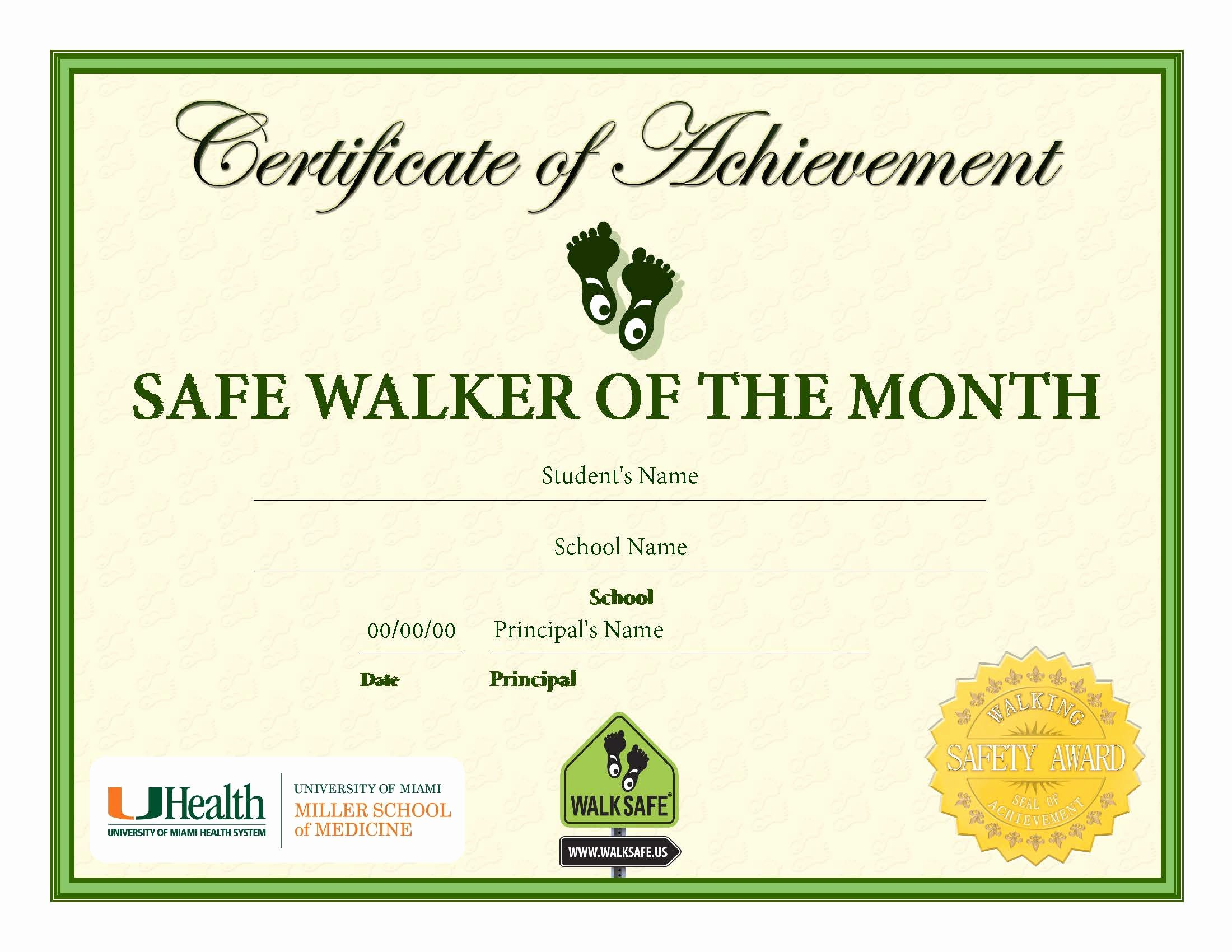 Student Of the Month Certificate Pdf New Student Award Safe Walker Of the Month Certificate