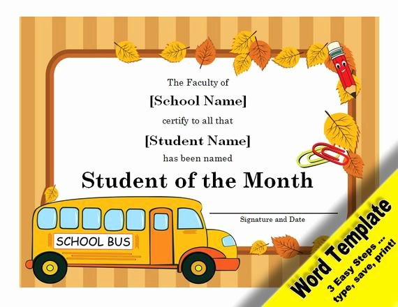 Student Of the Month Certificate Pdf Unique Student Of the Month Award Editable Word Template Printable