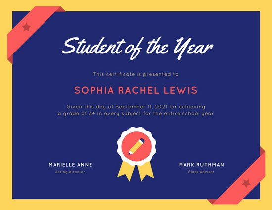 Student Of the Month Certificate Template Awesome Customize 90 Student Certificate Templates Online Canva