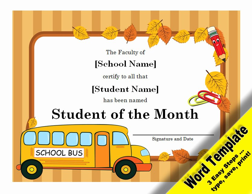 Student Of the Month Certificate Template Awesome Student Of the Month Award Editable Word Template Printable