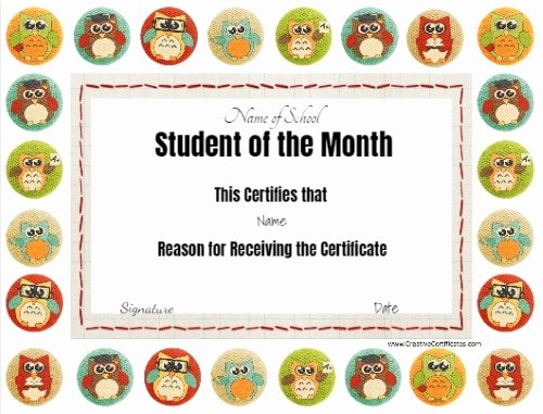 Student Of the Month Certificate Template Best Of Free Editable Printable Student Of the Month Certificate