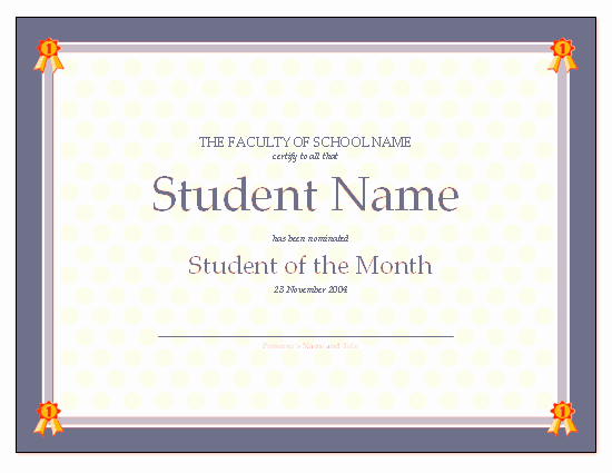 Student Of the Month Certificate Template Inspirational Download Certificate for Student the Month Free