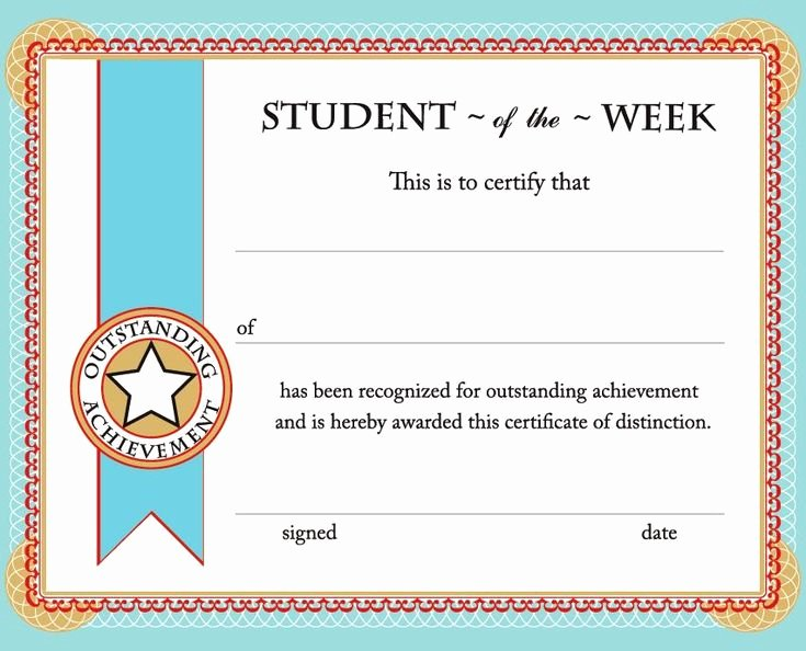Student Of the Month Certificate Template Inspirational Free Printable Student Of the Week Certificate